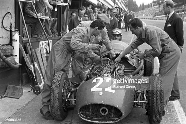 Luigi Musso Maserati 250F Grand Prix of Belgium Circuit de SpaFrancorchamps 05 June 1955 Late pit stop for mechanical repair for Luigi Mussos's...
