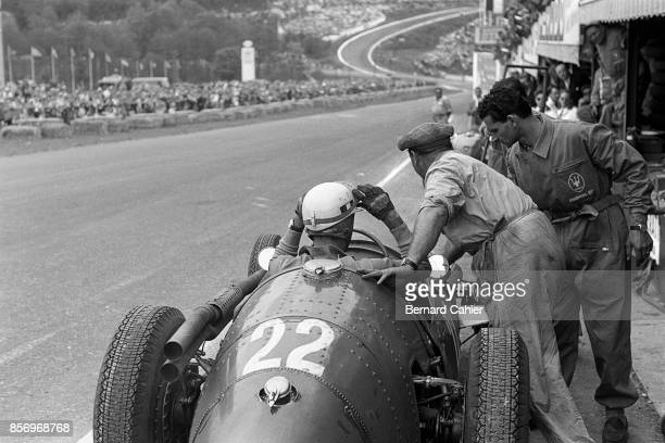 Luigi Musso Maserati 250F Grand Prix of Belgium Circuit de SpaFrancorchamps 05 June 1955 Luigi Musso about to leave the pits towards Eau Rouge on the...