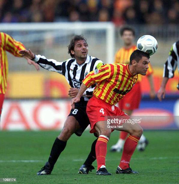 Luigi Piangerelli of Lecce and Antonio Conte of Juventus during a SERIE A 11th Round League match between Lecce and Juventus played at the Via del...