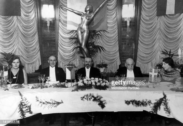 Luigi Pirandello Italian dramatist writer and poet at a banquet on the occasion of his receiving the Nobel Prize for Literature Stockholm 1934