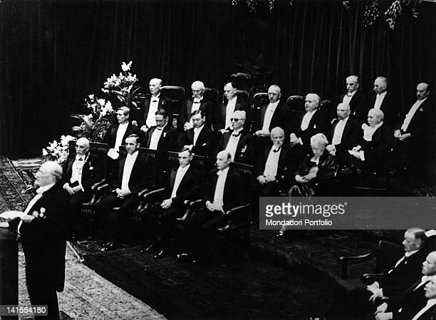 Luigi Pirandello Italian dramatist writer and poet at the ceremony in which he will be awarded the Nobel Prize for Literature Stockholm 1934