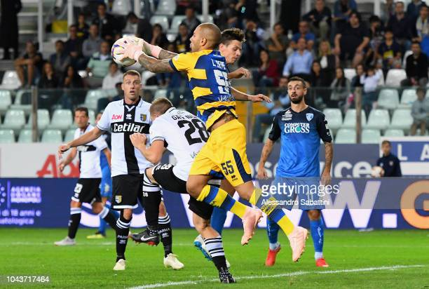 Luigi Sepe of Parma Calcio in action during the Serie A match between Parma Calcio and Empoli at Stadio Ennio Tardini on September 30 2018 in Parma...