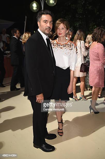 Luigis de Laurentis jury president Saverio Costanzo and director Alba Rohrwacher attend the opening dinner during the 72nd Venice Film Festival on...