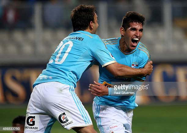 Luis Abram of Sporting Cristal celebrates the second goal of his team against Alianza Lima during a match between Sporting Cristal and Alianza Lima...