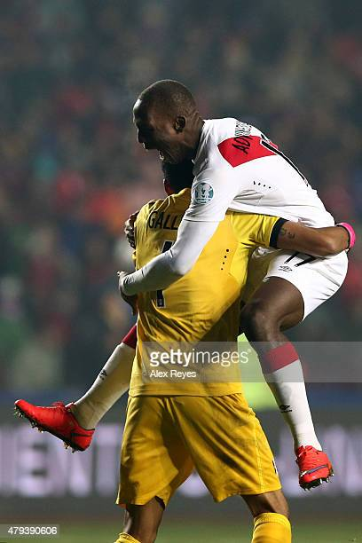 Luis Advincula and Pedro Gallese of Peru celebrates the second goal of his team scored by their teammate Paolo Guerrero during the 2015 Copa America...