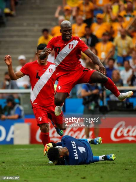 Luis Advincula Anderson Santamaria and Pedro Gallese of Peru in action during the 2018 FIFA World Cup Russia Group C match between Australia and Peru...
