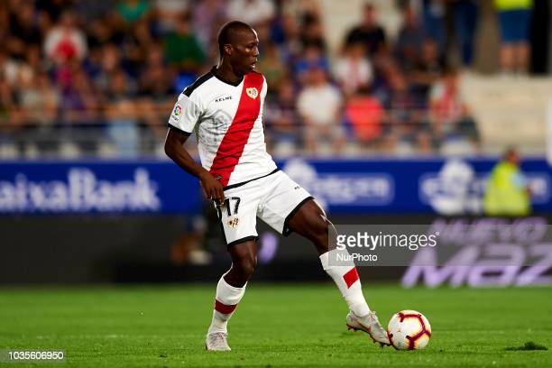 Luis Advincula battle for the ball during the match between SD Huesca against Rayo Vallecano at Alcoraz Stadium in Huesca Spain on September 14 2018