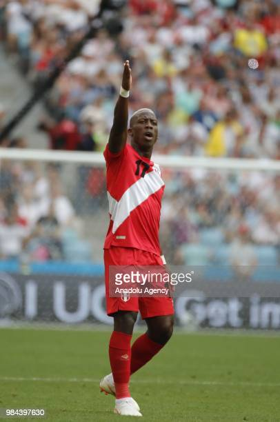 Luis Advincula da of Peru in action during the 2018 FIFA World Cup Russia Group C match between Australia and Peru at the Fisht Stadium in Sochi...