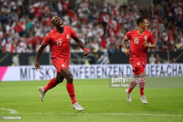 Luis Advincula of Peru celebrates after scoring his team's first goal during the International Friendly match between Germany and Peru at...