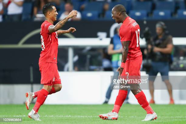 Luis Advincula of Peru celebrates his team's first goal with team mate Victor Yotun during the International Friendly match between Germany and Peru...