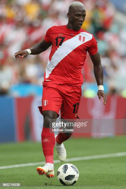 Luis Advincula of Peru during the 2018 FIFA World Cup Russia group C match between Australia and Peru at Fisht Stadium on June 26 2018 in Sochi Russia