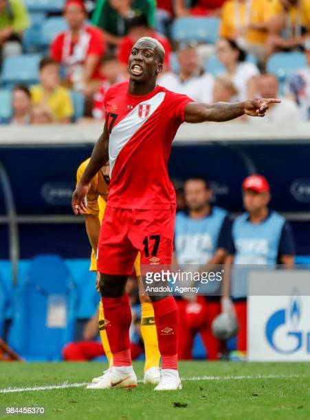 Luis Advincula of Peru in action during the 2018 FIFA World Cup Russia Group C match between Australia and Peru at the Fisht Stadium in Sochi Russia...