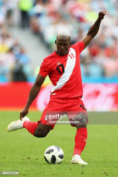 Luis Advincula of Peru in action during the 2018 FIFA World Cup Russia group C match between Australia and Peru at Fisht Stadium on June 26 2018 in...