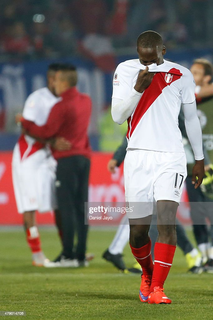 Luis Advincula of Peru looks dejected after the 2015 Copa America Chile Semi Final match between Chile and Peru at Nacional Stadium on June 29, 2015 in Santiago, Chile.