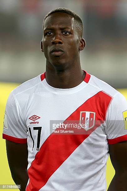 Luis Advincula of Peru looks on before a match between Peru and Venezuela as part of FIFA 2018 World Cup Qualifiers at Nacional Stadium on March 24...