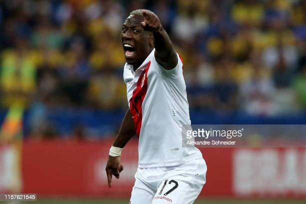 Luis Advincula of Peru reacts during the Copa America Brazil 2019 group A match between Peru and Brazil at Arena Corinthians on June 22, 2019 in Sao...