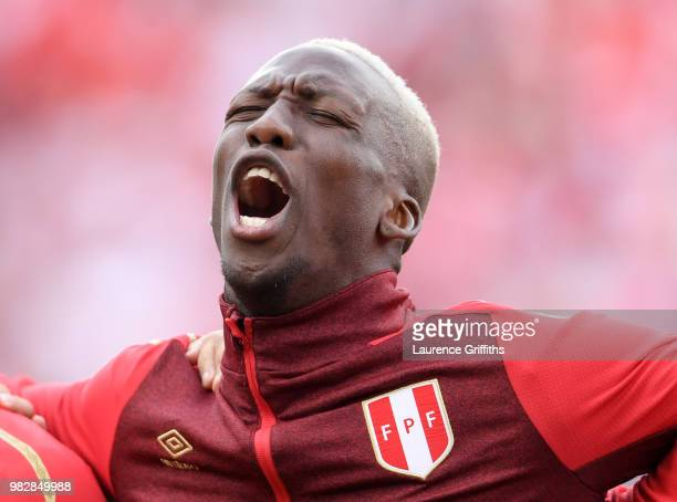 Luis Advincula of Peru sings the national anthem prior during the 2018 FIFA World Cup Russia group C match between France and Peru at Ekaterinburg...