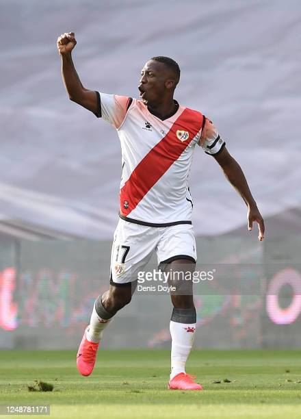Luis Advincula of Rayo Vallecano celebrates after scoring his team's first goal during the La Liga SmartBank match between Rayo Vallecano and...