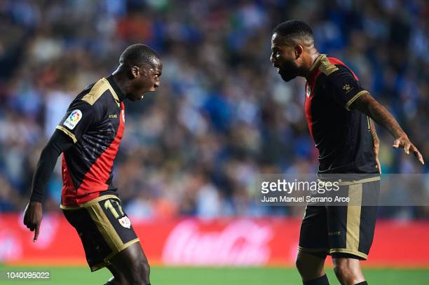 Luis Advincula of Rayo Vallecano celebrates after scoring with Tiago Manuel Dias Bebe of Rayo Vallecano during the La Liga match between Real...