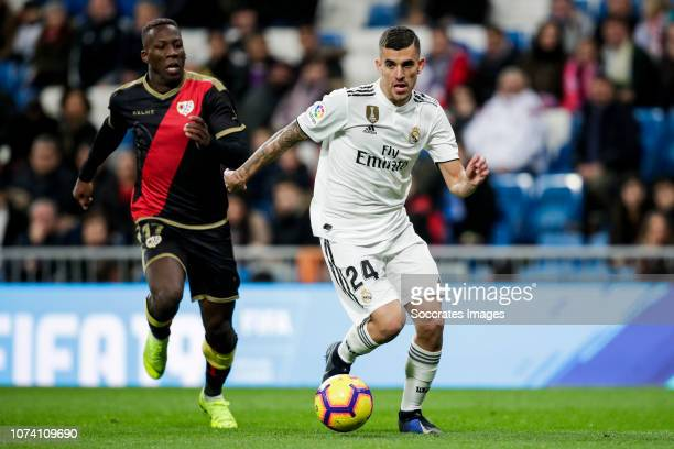 Luis Advincula of Rayo Vallecano Dani Ceballos of Real Madrid during the La Liga Santander match between Real Madrid v Rayo Vallecano at the Santiago...
