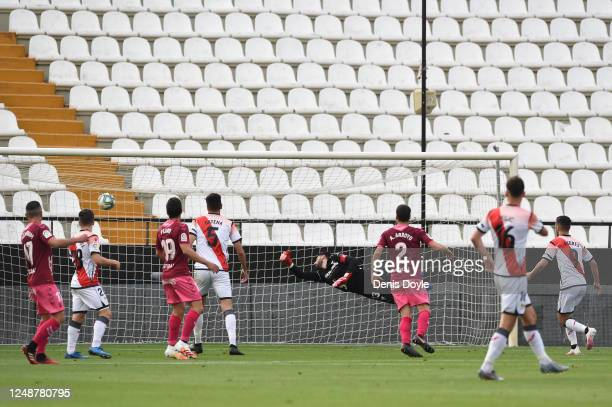 Luis Advincula of Rayo Vallecano scores his team's first goal during the La Liga SmartBank match between Rayo Vallecano and Albacete at Campo de...