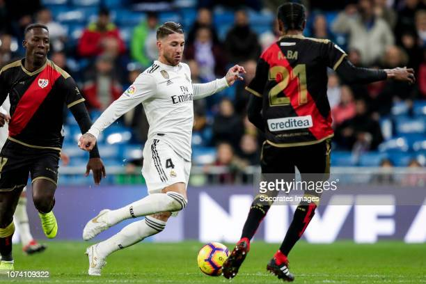 Luis Advincula of Rayo Vallecano Sergio Ramos of Real Madrid Abdoulaye Ba of Rayo Vallecano during the La Liga Santander match between Real Madrid v...