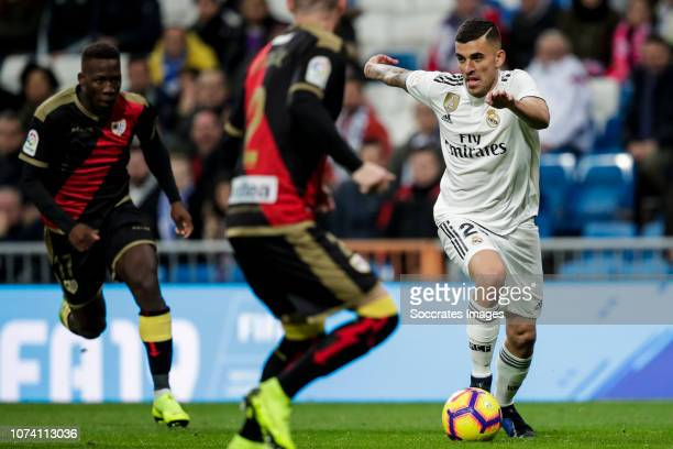 Luis Advincula of Rayo Vallecano Tito of Rayo Vallecano Dani Ceballos of Real Madrid during the La Liga Santander match between Real Madrid v Rayo...