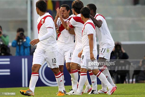Luis Advíncula from Peru celebrates his goal against Colombia during a quarter final match between Colombia and Peru at Mario Alberto Kempes Stadium...