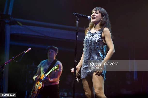 Luis Aguirre and Eva Amaral of Amaral perform on stage at Poble Espanyol on July 6 2017 in Barcelona Spain