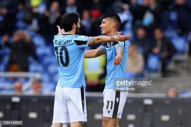 Luis Alberto and Joquin Correa of SS Lazio celebrate after scoring the team's second goal during the Serie A match between SS Lazio and Bologna FC at...