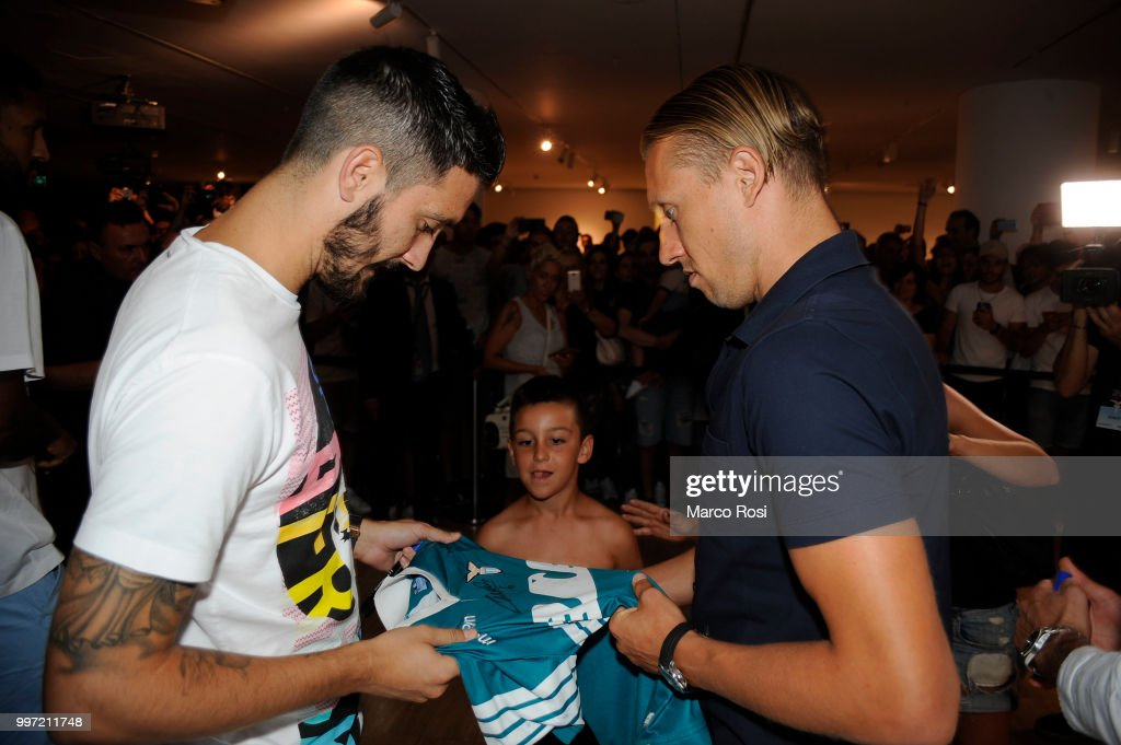 Luis Alberto and Lucas Leiva of SS Lazio attend the SS Lazio unveil new shirt for 2018-19 Season on July 12, 2018 in Rome, Italy.
