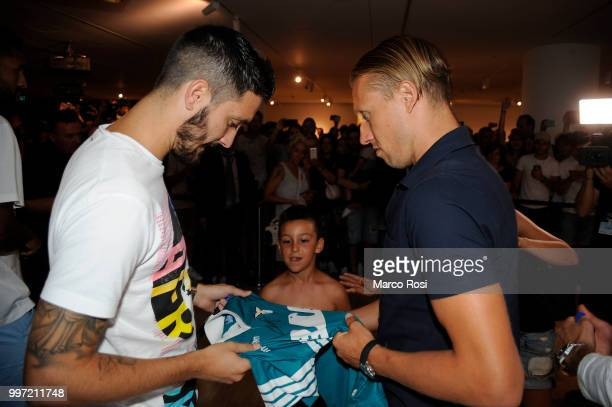 Luis Alberto and Lucas Leiva of SS Lazio attend the SS Lazio unveil new shirt for 201819 Season on July 12 2018 in Rome Italy