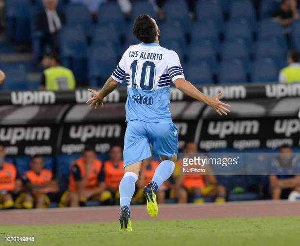 Luis Alberto celebrates after scoring goal 10 during the Italian Serie A football match between SS Lazio and Frosinone at the Olympic Stadium in Rome...