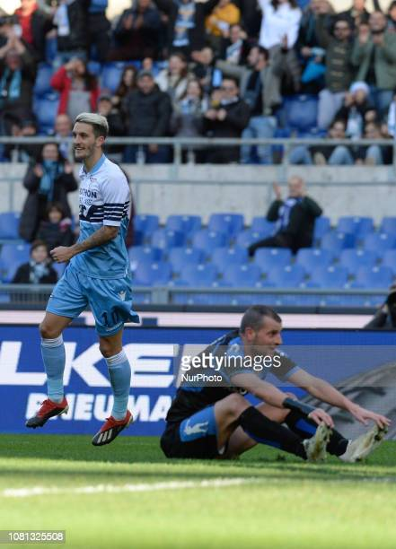 Luis Alberto celebrates after scoring goal 10 during the Italian Cup football match between SS Lazio and Novara at the Olympic Stadium in Rome on...