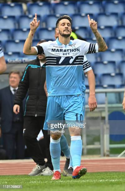 Luis Alberto celebrates after scoring goal 20 during the Italian Serie A football match between SS Lazio and Parma at the Olympic Stadium in Rome on...