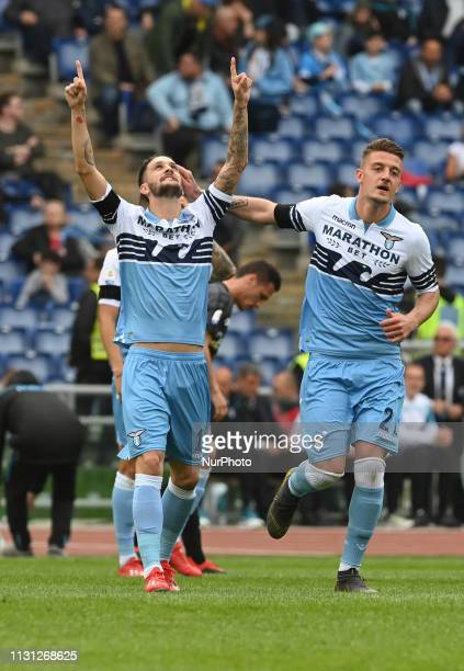 Luis Alberto celebrates after scoring goal 30 during the Italian Serie A football match between SS Lazio and Parma at the Olympic Stadium in Rome on...