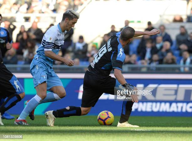 Luis Alberto kicks goal 10 during the Italian Cup football match between SS Lazio and Novara at the Olympic Stadium in Rome on January 12 2019