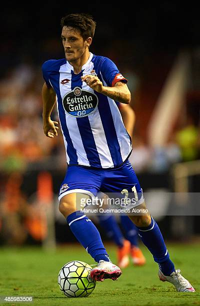 Luis Alberto of Deportivo runs with the ball during the La Liga match between Valencia CF and RC Deportivo de La Coruna at Estadi de Mestalla on...