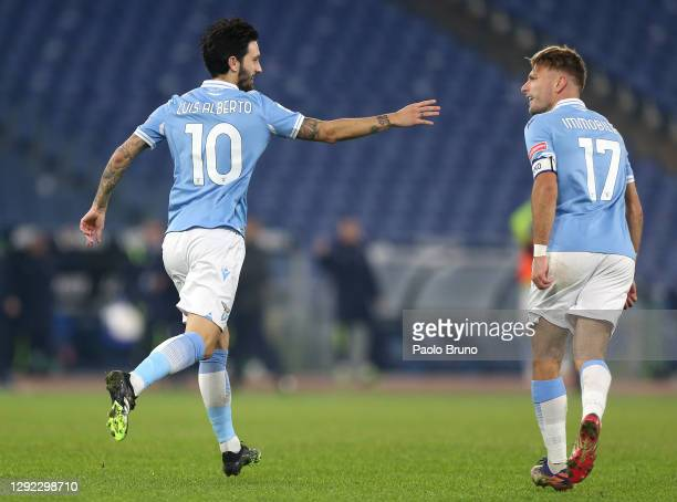 Luis Alberto of Lazio celebrates with Ciro Immobile after scoring their team's second goal during the Serie A match between SS Lazio and SSC Napoli...