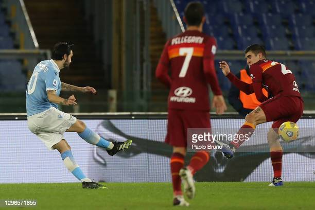 Luis Alberto of Lazio scores his team's third goal during the Serie A match between SS Lazio and AS Roma at Stadio Olimpico on January 15, 2021 in...