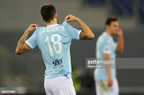 Luis Alberto of SS Lazio celebrate a frist goal during the Serie A match between SS Lazio and Torino FC at Stadio Olimpico on December 11 2017 in...
