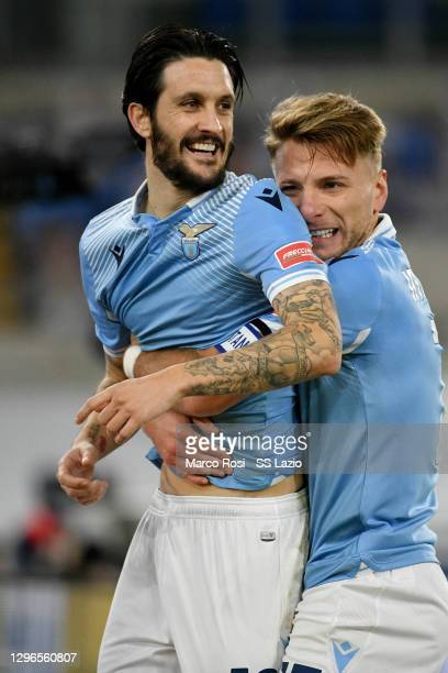 Luis Alberto of SS Lazio celebrate a second goal with his team mates during the Serie A match between SS Lazio and AS Roma at Stadio Olimpico on...