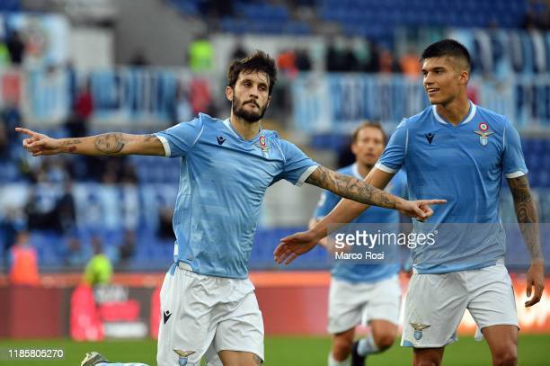 Luis Alberto of SS Lazio celebrate a third goal a penalty with his team mates during the Serie A match between SS Lazio and Udinese Calcio at Stadio...