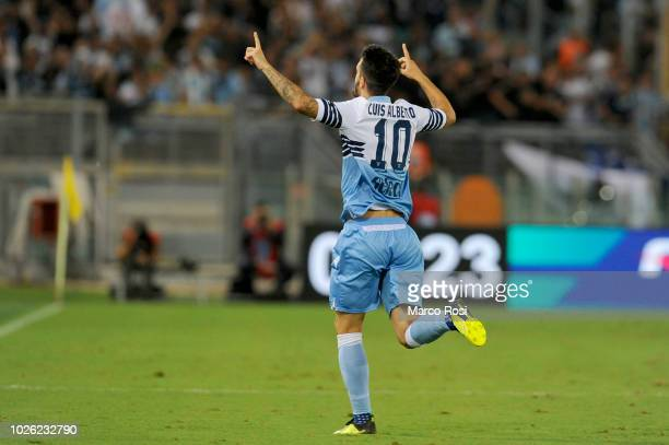 Luis Alberto of SS Lazio celebrates a opening goal during the serie A match between SS Lazio and Frosinone Calcio at Stadio Olimpico on September 2...