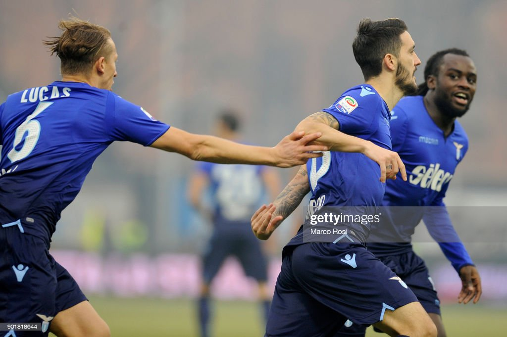 Luis Alberto of SS Lazio celebrates a opening goal during the serie A match between Spal and SS Lazio at Stadio Paolo Mazza on January 6, 2018 in Ferrara, Italy.