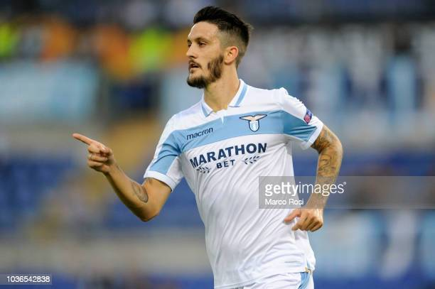 Luis Alberto of SS Lazio celebrates a opening goal with his team mate during the UEFA Europa League Group H match between SS Lazio and Apollon...