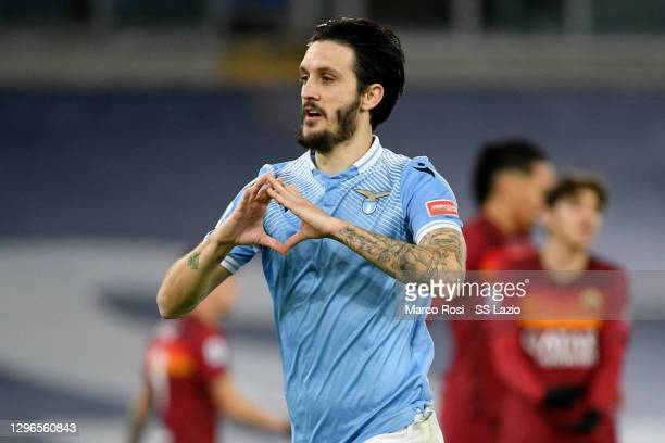 Luis Alberto of SS Lazio celebrates a second goal during the Serie A match between SS Lazio and AS Roma at Stadio Olimpico on January 15, 2021 in...