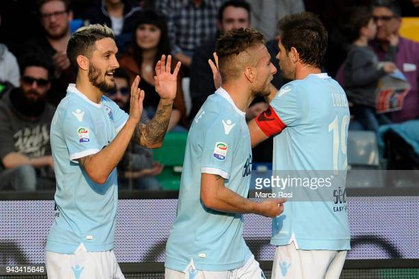 Luis Alberto of SS Lazio celebrates a second goal with his team mates during the serie A match between Udinese Calcio and SS Lazio at Stadio Friuli...