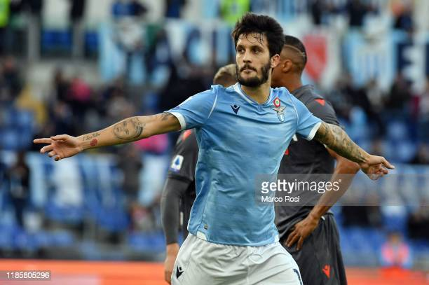 Luis Alberto of SS Lazio celebrates a third goal a penalty during the Serie A match between SS Lazio and Udinese Calcio at Stadio Olimpico on...