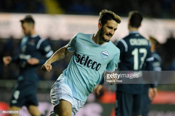 Luis Alberto of SS Lazio celebrates a third goalduring the Serie A match between Atalanta BC and SS Lazio at Stadio Atleti Azzurri d'Italia on...